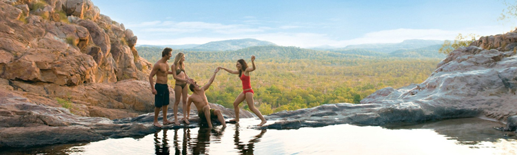 Experiece a real adventure in remote Kakadu swiming at Gunlom rockpool credit Australia tourism